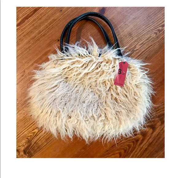 e3943e7feaa Bags | Faux Fur Cream Mongolian Lamb Shaggy Bag Purse | Poshmark